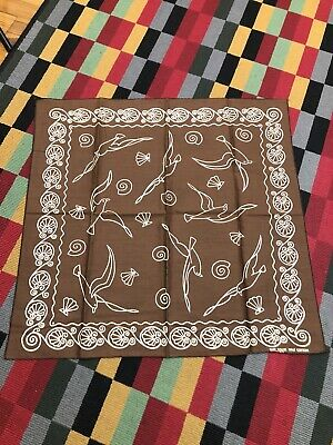 NOS Vintage Bandana 1960s 1970s Fast Color Brown Handkerchief Seagull Seashell