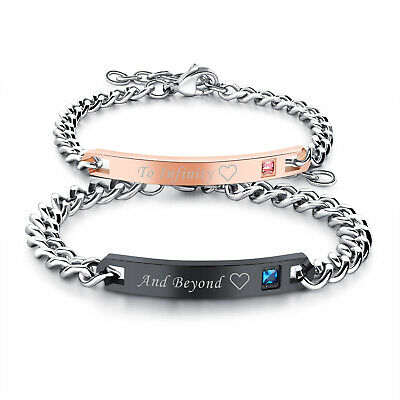 """2pc Couple Men Women Stainless Steel CZ """"To Infinity""""""""And Beyond"""" Bracelet Chain"""