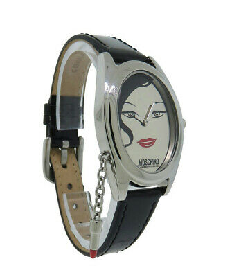 Moschino MW0052 Women's Oval Mirror Dial Analog Black Patent Leather Watch