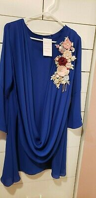 Pakistani / Indian Women's Shirt, blue, floral bunch, applique