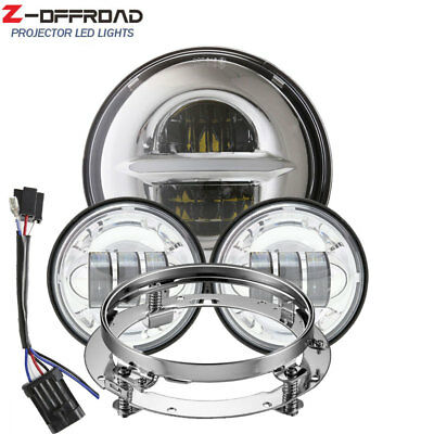 "7inch LED DRL Headlight+4.5"" Fog Lights Passing Lamps+Bracket Mounting Ring"