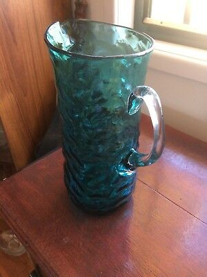 Antique Circa 1920`s  Art Deco Blue Glass Jug, Ruffled Edges
