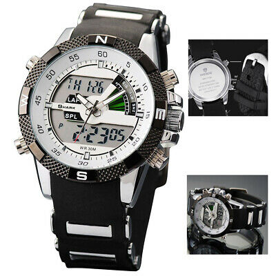 Digital Shark Men's Quartz Wrist Watch Sport Army LCD Date Day Silicone Y2U6L