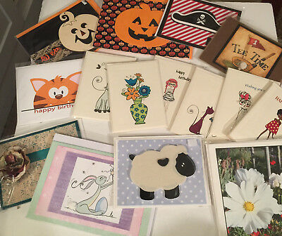 Handcrafted Greeting Cards Birthday Holiday Includes Envelopes NEW Lot 2