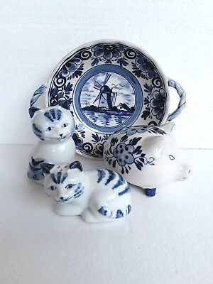 4 x Vintage Dutch Delft Blue & White Ornaments Holland