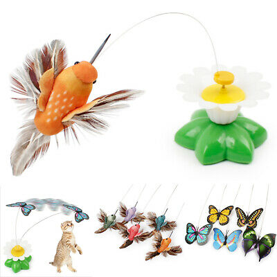 1*Electric Rotating Bird Butterfly Flying Around The Flower Pet Cat Toys Funny