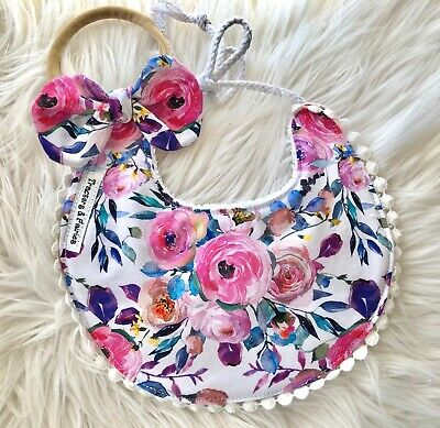Baby girl boho bib with Nylon knot Headband by Tractors & Fairies