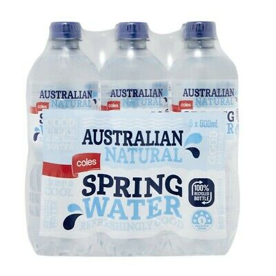 Coles Natural Spring Water 600mL 6 pack