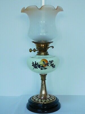 Antique Double Burner Oil Lamp With Amber Tinted Etched Shade ~ Free Uk Post
