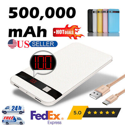 500000mah Power Bank LCD Display 2USB External Battery Charger for Cell Phone