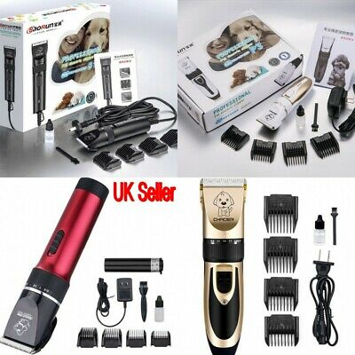 UK Low Noise Cordless Dog Grooming Hair Kit Electric Clippers Trimming Pet Cats