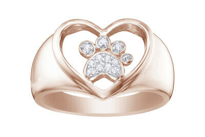 14k Rose Gold Over Sterling Silver Cubic Zirconia Paw Print & Heart Ring