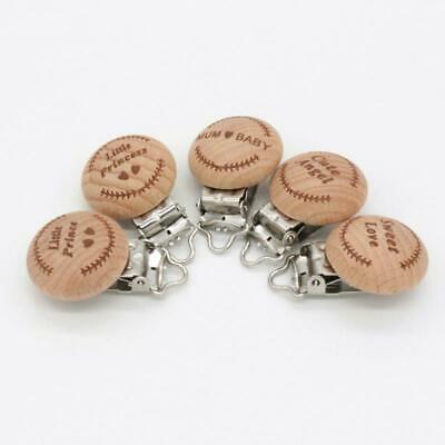 Wooden Soother Dummy Nipple Baby Infant Pacifier Suspender Clips Holder T
