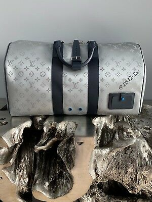 LOUIS VUITTON GALAXY KEEPALL Bandouliere 50 Satellite Silver Duffle Bag  M44170 39e75c033c8e9