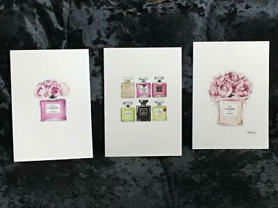 Pink Wall Art Prints A4 Set of 3 Chanel Perfume Inspired Decor Bedroom Lounge