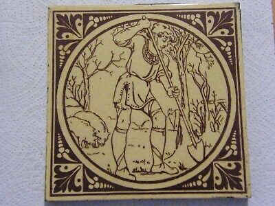 ANTIQUE ARTS & CRAFTS MINTON TILE MOYR SMITH HUSBANDRY ''DIGGING'' circa 1873.
