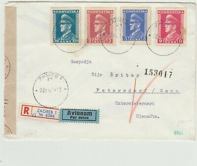 Croatia   1945 Registered cover to Germany with censor strikes