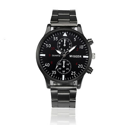 Men Crystal Luxury Stainless Steel Band Quartz Sport Dial Wristwatch Watch Black