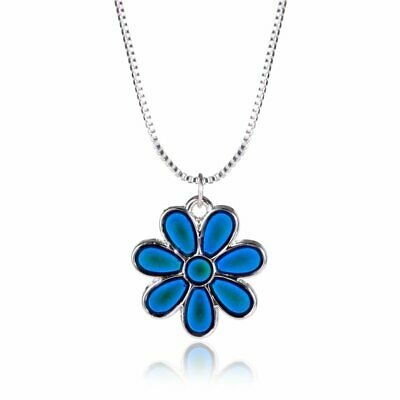 Flower Color Change Temperature Thermo Mood Pendant Chain Necklace Jewelry Gifts