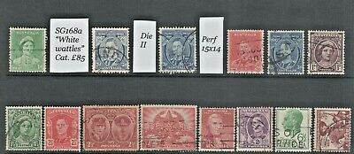 """AUSTRALIA KGVI a small lot of fine used stamps including SG168a """"White wattles""""."""