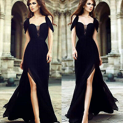 Women Black Formal Long Evening Party Prom Side Slit Ball Gown Bridesmaids Dress