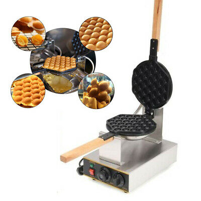 110V Electric Egg Cake Oven Puff Bread Maker Waffle Bake Stainless Steel Machine