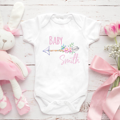 Personalised Girl Baby Clothing Vest Babygrow Baby Shower Gift Any Surname