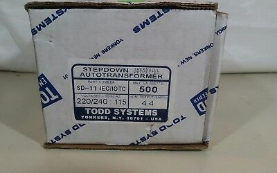 Todd Systems Step Down 500 WATTS SD-11 IEC auto Transformer 220-240 Input to 115