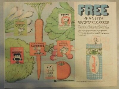 Peanuts Ad for Butternut Bread by Charles Schulz from 1970's Half Size Page !