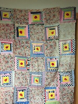 Antique 19th century Handmade Applique Child's Quilt or Throw Must See!