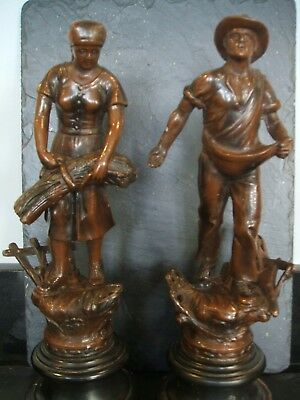 Antique French Spelter Figures Moissonneuse And Semeur