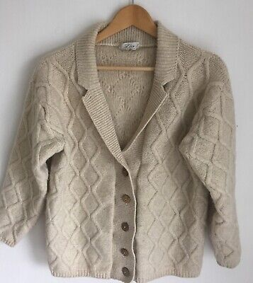 Vintage 70s/80s Arran Style Pure New Wool Cardigan By Zio