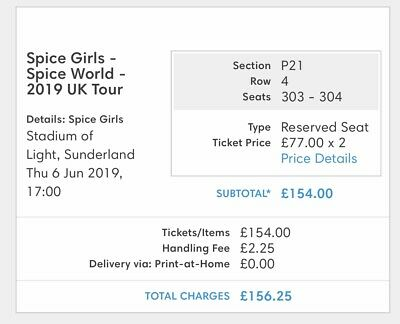 2x Spice Girls Tickets Stadium Of Ligh Sunderland 6th June