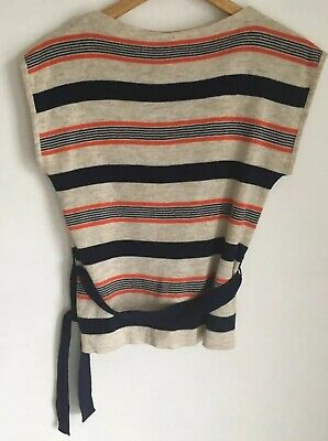Vintage 70s Striped Sleeveless Pullover/Tank Top With Belt Size 12