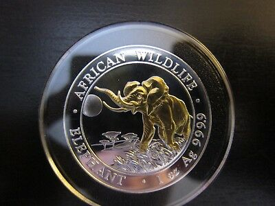2016 Somalia Elephant African Wildlife 1 Oz Pure Silver Gold Gilded