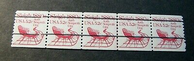 US PNC Strips Stamps Scott# 1900a Sleigh 1983 MNH   Strip of 5 P#4 L236