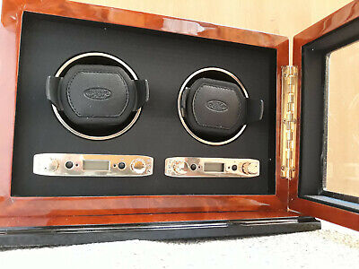 Wolf Module 2.7 Burlwood Double Watch Winder with Cover