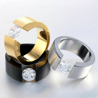 8MM Black/Silver/Gold CZ Stainless Steel Ring Mens Womens Wedding Band Size 7-12