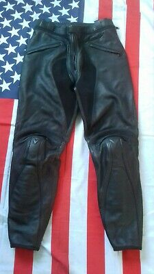 Dainese black motorcycle biker leather  trousers  waist 32