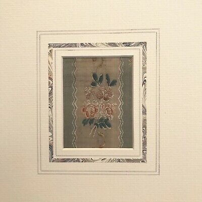 Antique french silk brocade embroidered sampler.  Made in 18th century