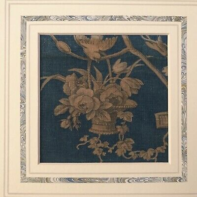 Antique French Toile sampler 18th Century Blue And Ochre Flowers to be framed