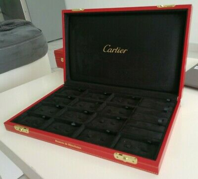 Cartier Cufflinks & Tie Clip Box Ecrin Rare Pen Watch Lighter Montre Stylo Ühr