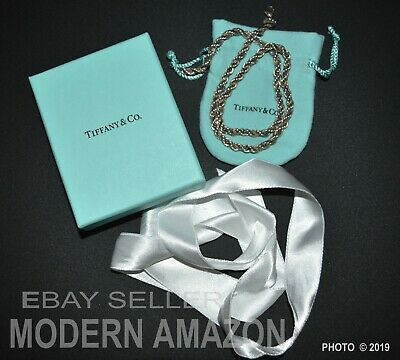 Retired TIFFANY & CO 18K Yellow Gold & Sterling Twisted Rope Necklace w/PKG
