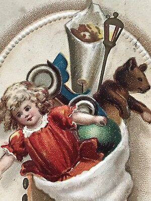 Early 1900's Antique Vintage Postcard Christmas Germany Toy Stocking  Doll AAFA