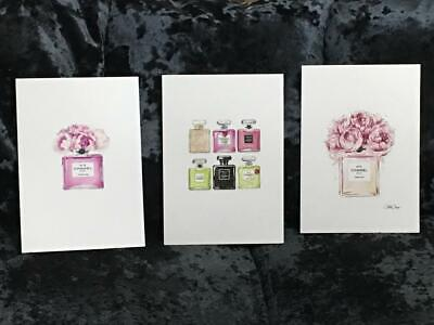 Pink Wall Art Glitter Prints A4 Set of 3 Chanel Perfume Inspired Decor Bedroom