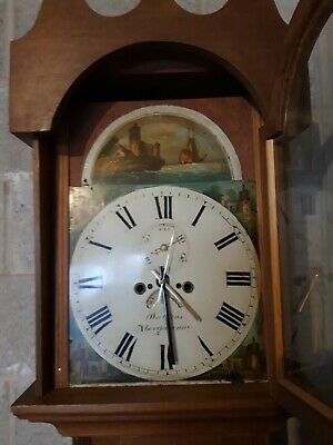 Grandfather Clock with Antique Hand Painted Face.