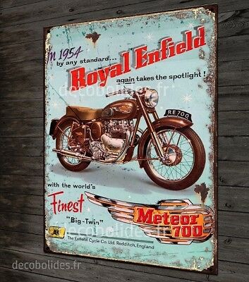 "Plaque métal 40x28cm Royal Enfiel 1954 ""Meteor 700"" cafe racer"
