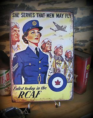 Plaque métal WW2 royal canadian air force, décoration aviation vintage