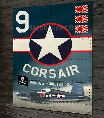 "Plaque métal déco chance vought F4-U corsair fighter "" jolly rogers "" metal sign"