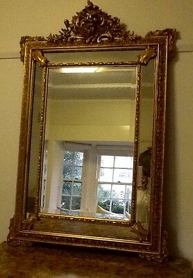 french 19c gilt cushion mirror